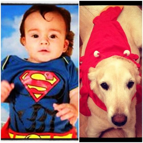 SuperBaby and his sidekick. Super Lobster